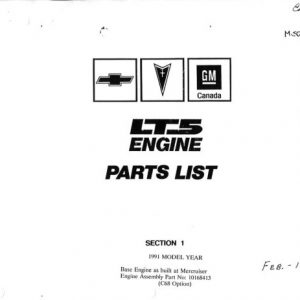 1991 - 1993 Corvette ZR-1 LT5 Engine Parts List
