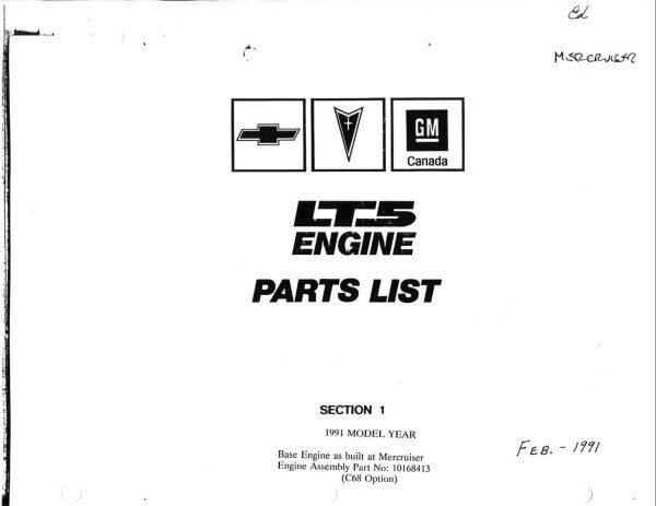 1991 - 1993 Corvette ZR-1 LT5 Engine Parts List
