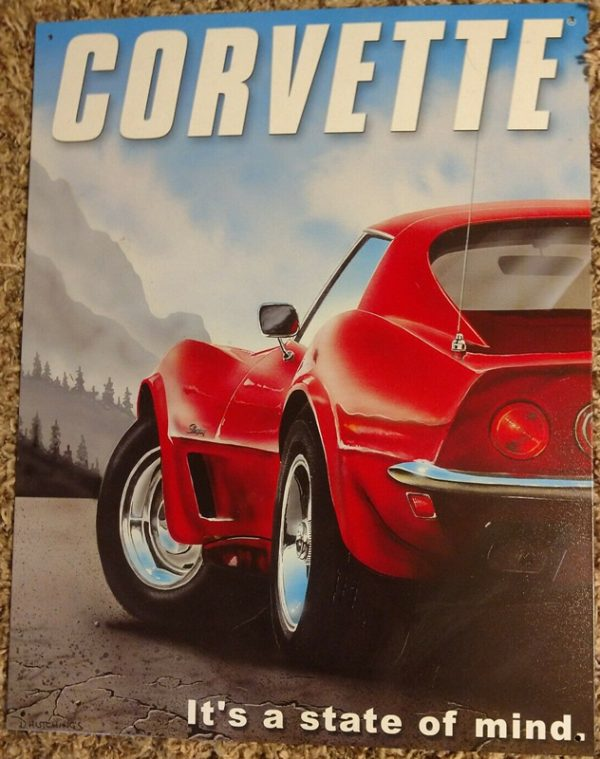 Corvette Tin Metal Sign - It's a State of Mind